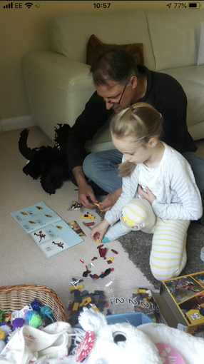 Niamh completing the Lego challenge