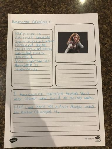 She has also created a Hermione Granger fact file with some very interesting facts!
