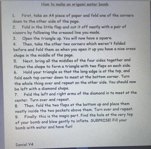 Daniel - Year 4 - Water bomb instructions