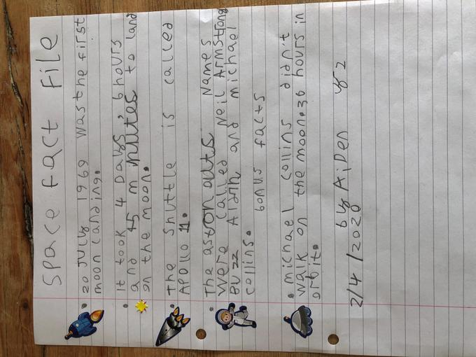 Aiden's space writing