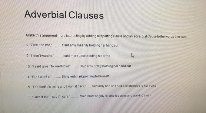Evie's Adverbial clauses