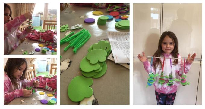 Ivy has been participating in a fun frogs project with her Grandma!