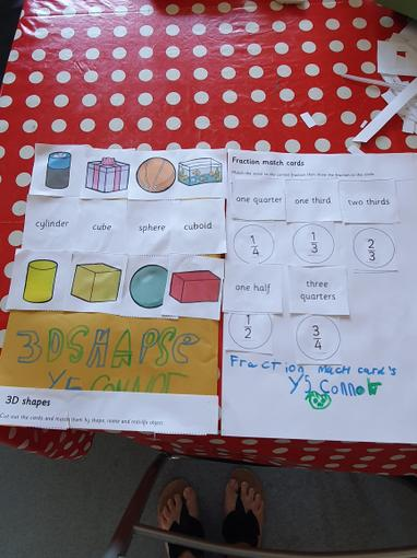Connor has been practising his 3D shapes!