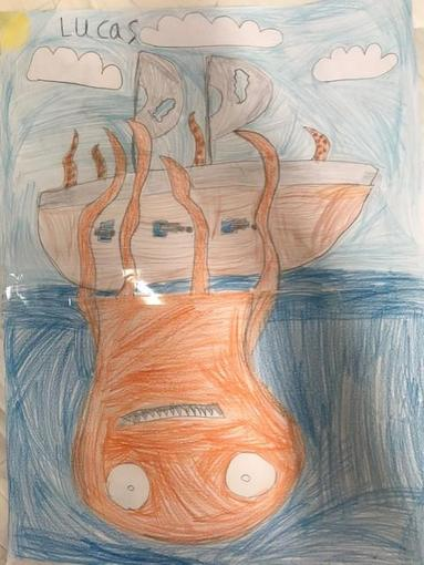 Lucas drew the Kraken from his poem