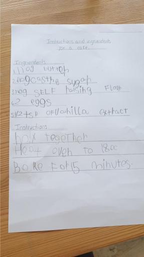 Jenson's cake recipe instructions - Reception