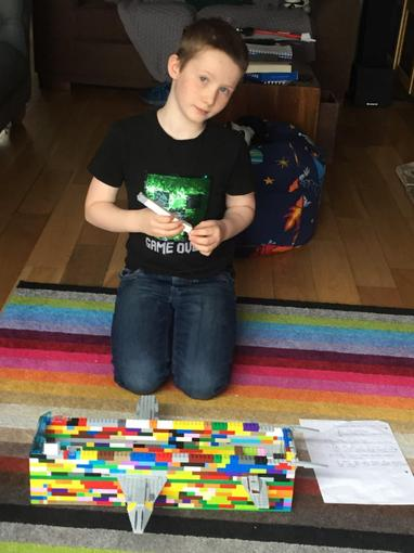 Zach's been writing instructions for a lego ship!