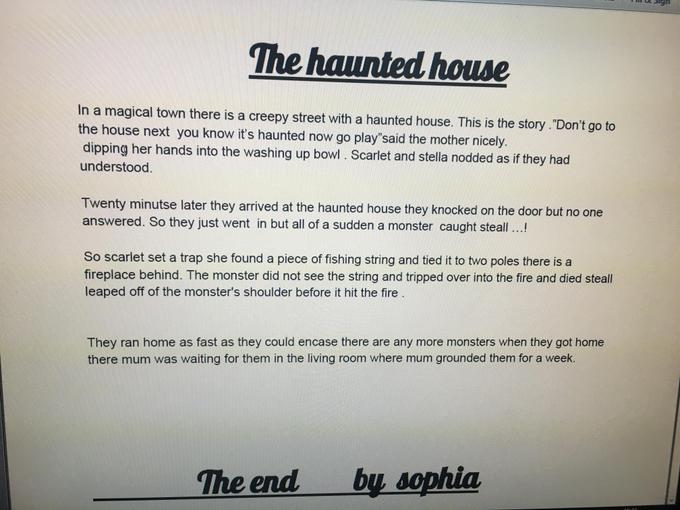 Sophia's Haunted House story