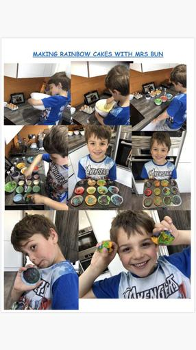 Charlie learning to make Rainbow cakes