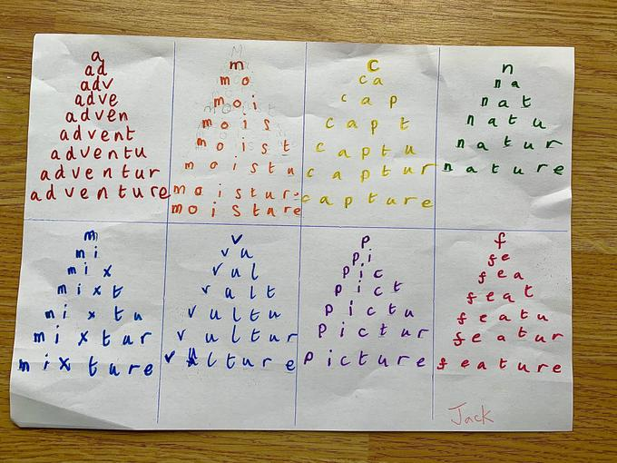 Jack's spelling pyramids