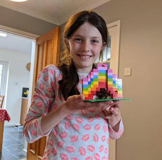 Jemma has made a lego rainbow!