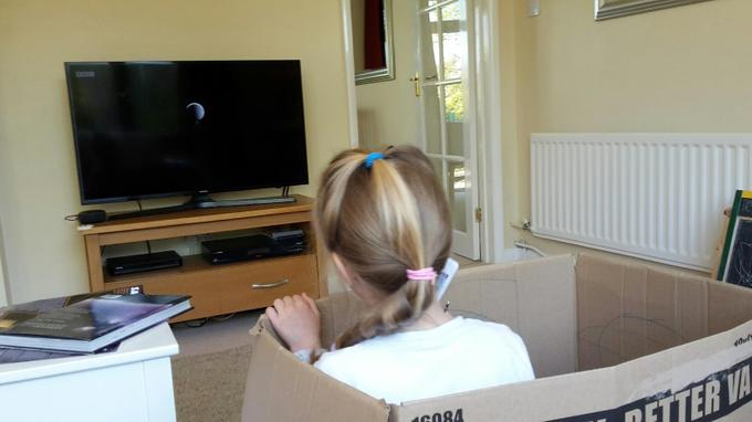 Niamh in her box!