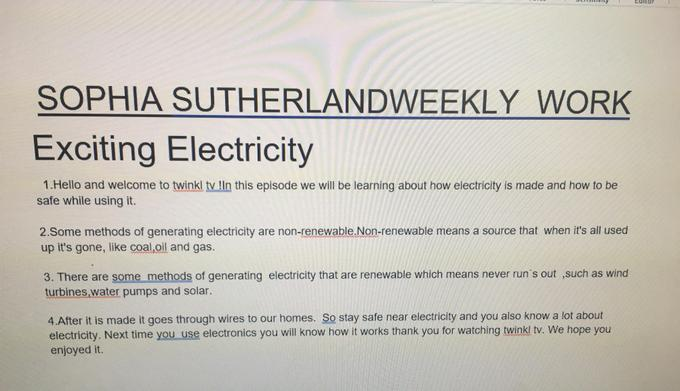 Sophia's Exciting Electricity presentation
