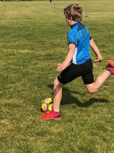 Alex practising his football skills