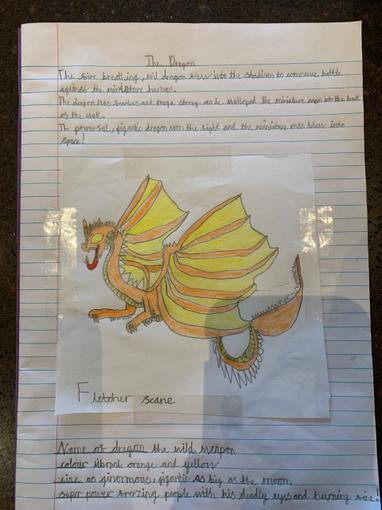 Fletcher's completed dragon piece. Wow!