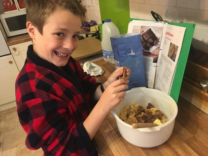 Harry making cookies