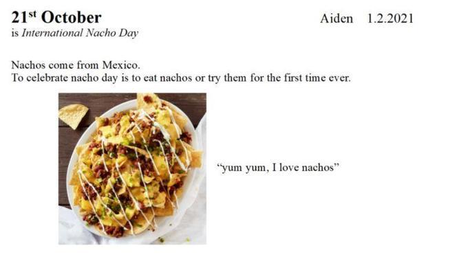 One of Aiden's favourite National Days- nachos, yum!