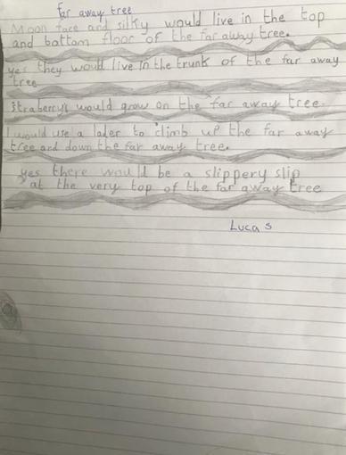 Lucas' Faraway Tree writing
