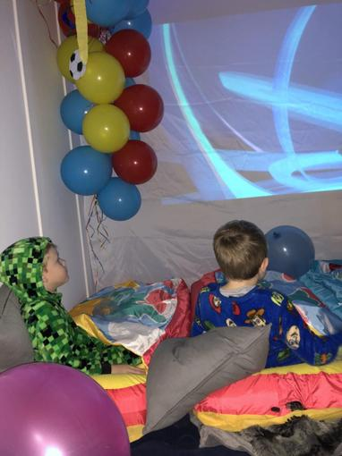 Ollie enjoying a film night for his brother's birthday!