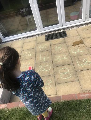 Isabelle learning her times tables