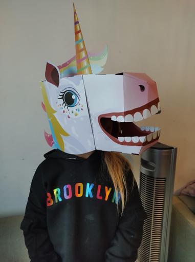 Here's Holly's unicorn head!