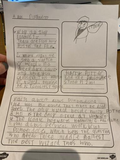Jack has also been working hard on his famous wizard fact file. Beautiful presentation!