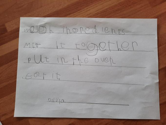 Olivia's Banana Cake instructions - Reception