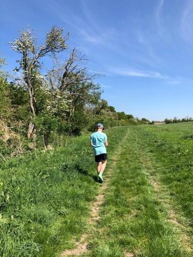 Alex enjoying a 9k run!