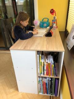 Corinna working hard at her new desk!