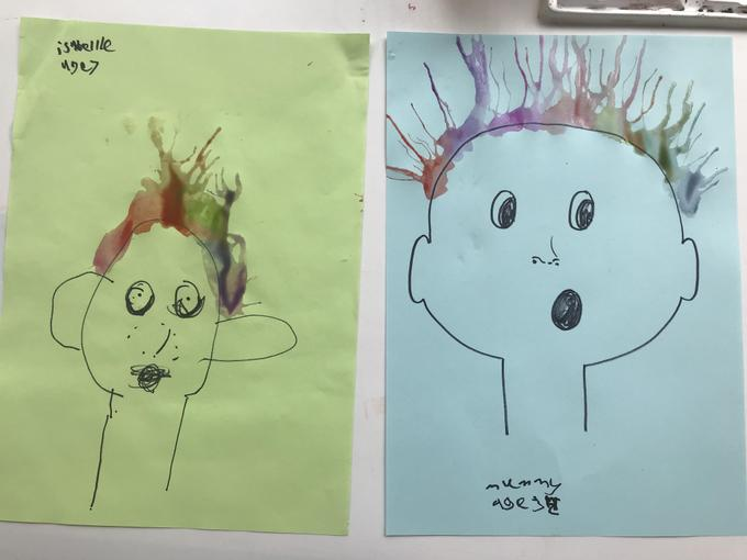 Isabelle's blow paintings!