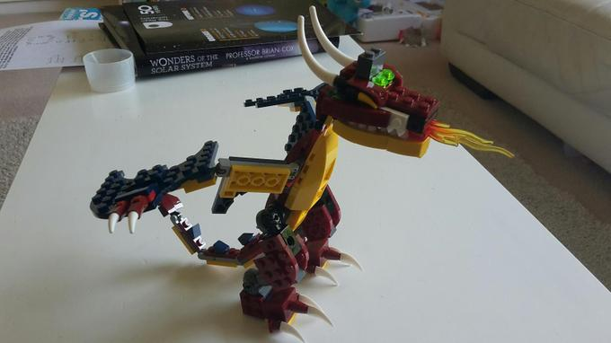 Niamh's completed Lego dragon