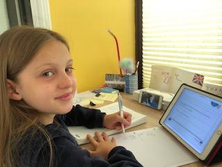 Corinna and Alex working hard on Maths