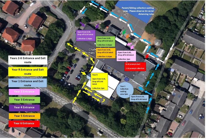 Entrance and Exit Map to School Site