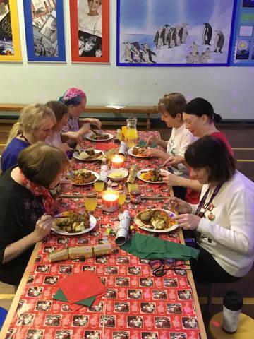 Canteen Staff enjoying Christmas Dinner