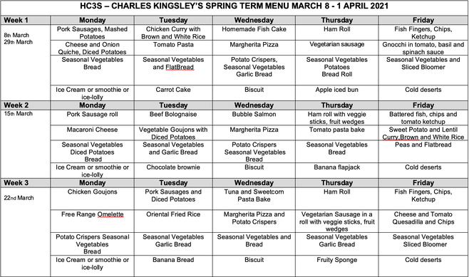 Spring Lunch Menu from 8th March 2021