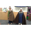 Two children in traditional Viking clothes