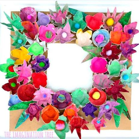 Use old egg cartons to make a floral frame
