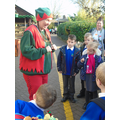 Being greeted by one of Santa's Elves