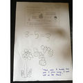 Subtraction number story created by a Year 1 pupil