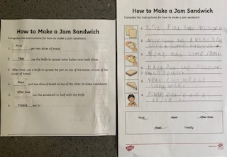 Writing sandwich instructions
