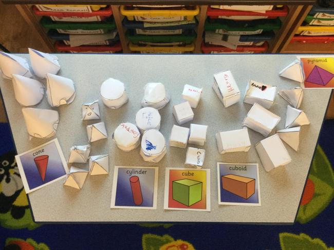 We made 3D shapes.We can name them and their faces