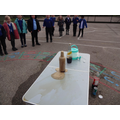And finally we put bicarbonate of soda and vinegar together in  a bottle.