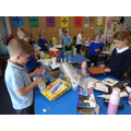 We collected  recyclable materials and made our bridges and towers.