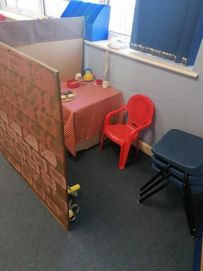 This is our home corner where you can use your imagination!