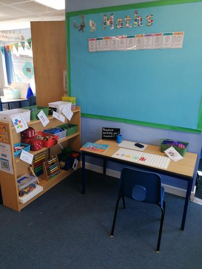 This is our Maths area.We keep our Maths resources here and try Maths challenges