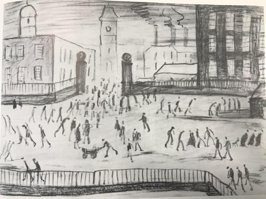 (Lowry) A crowd but not much detail. Can you draw stick figures?