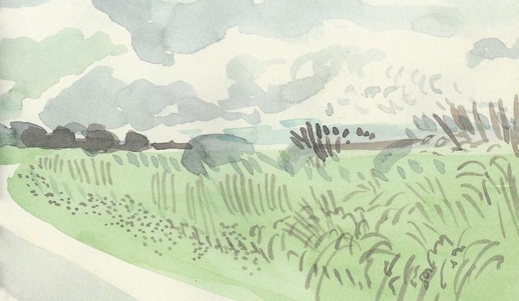 (Hockney) - watercolours used freely. Little detail but you get the idea...