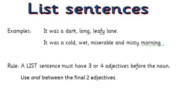 Alan Peat SentencesUse the picture above to practise your list sentences.