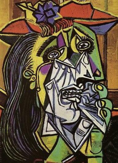 (Picasso) How is she feeling? Can you use colour and shape to show how you feel?