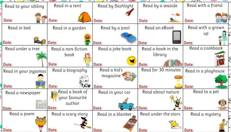 Reading Challenge- Book Bingo Can you complete a row across, down or diagonally? Or even t