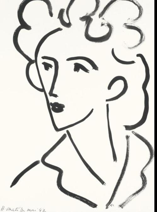 (Matisse) Just a few strong lines. Can you draw a portrait in this style?